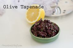 Olive Tapenade Recipe |  1 cup of pitted black olives, 1/4 cup of parsley,     1 tablespoon lemon juice,     2 tablespoons olive oil,     salt to taste