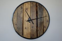 Large wooden wall clock (57cm)