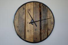 Large wooden wall clock (57cm) Wooden Walls, Clock, Home Decor, Wood Walls, Watch, Decoration Home, Room Decor, Clocks, Home Interior Design