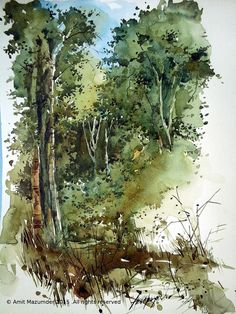 Went there few months back and had a chance to quickly do a water color study . Watercolor Landscape Paintings, Landscape Artwork, Watercolor Trees, Watercolor Artwork, Watercolor Sketch, Watercolor Artists, Watercolor Portraits, Color Art Lessons, Gravure Illustration