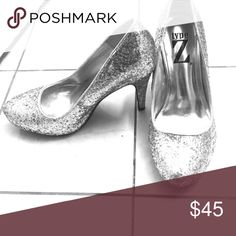 Type Z Sparkly Silver Heels NWOT Type Z glittery silver heels, six 6M. Heel height around three inches. Never been worn. type z Shoes Heels