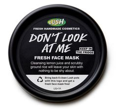 [LUSH Cosmetics Don't Look At Me fresh face mask. Picked this one up Friday. Love it. It's scrubby + moisturizing just like LTGTR. It's a pretty awesome bright blue + smells like Fruity Pebbles to me. All the fresh masks I've ever used have dried my face too much, but this one was just about perfect. It's the only fresh one that's made me bummed I don't live closer than 2 hours from a store!]