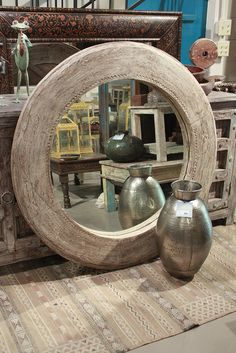 Reclaimed Teak Old Wagon Wheel Round Mirror - Discoveries Furniture & Finds - www.discoveriesLA.com