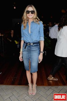 Paging everyone The denim pencil skirt is a fall musthave. Style yours like Palermo with a chambray shirt Western belt. Pencil Skirt Casual, Pencil Skirt Outfits, Denim Pencil Skirt, High Waisted Pencil Skirt, Pencil Skirts, Pencil Dresses, Day To Night Outfits, 30 Outfits, Casual Skirt Outfits