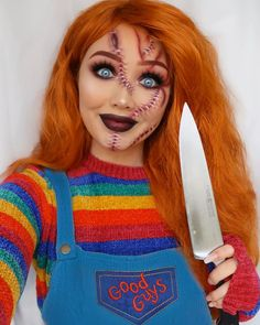 G i n a b o x on chucky childs play second look of spooky season is a glam chucky when i was really young people use to say i looked like 10 halloween makeup looks Clown Halloween, Cute Halloween Makeup, Halloween Tags, Halloween Makeup Looks, Halloween Outfits, Halloween Make Up, Halloween Party, Chucky Makeup, Makeup Clown