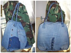 Front and back view.  Large up-cycled Levi's Jeans denim holdall bag with skull studs and cord arm handle.  I used the front of the jeans including the button fly for the back of the jeans
