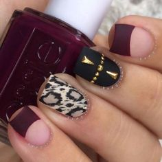 The trendiest fall nail designs require some practice to look perfect. However, if you are patient, you can easily make your nails look amazing. Fall Nail Art Designs, Pretty Nail Designs, Fall Nail Polish, Nail Polish Colors, Nail Swag, Gorgeous Nails, Pretty Nails, Wine Nails, Cute Nails For Fall
