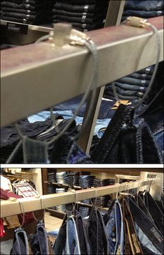 Cable-Tethered Jeans Not for Sale – Fixtures Close Up H Style, Lanyards, Closets, Cable, Retail, Belt, Display, Jeans, Shopping