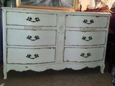 Shabby Chic Chalk Painted Furniture | Shabby Chic Dresser/Buffet. /Vintage/hardware/Handpainted/furniture ...