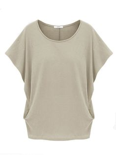 Loose Pure Color Plus Size Simple Style Casual T Shirt on buytrends.com