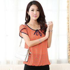 Bolinhas blusas de verão Chiffon camisa feminina elegante mulheres blusas Tops arco fino Chiffon blusa