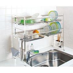 charming stainless steel dish rack in the kitchen 32 Modern Kitchen Cabinets, Kitchen Shelves, Kitchen Interior, Kitchen Storage, Kitchen Decor, Kitchen Design, Kitchen Organisation, Home Organization, Kitchen Sets