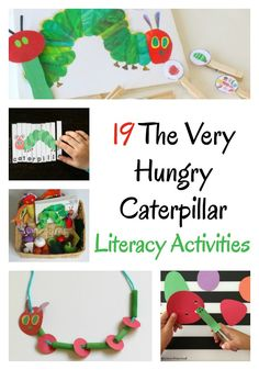 These The Very Hungry Caterpillar activities will build literacy skills Ideas for alphabet practice fine motor learning your name sight words and more via growingbbb Preschool Literacy, Preschool Books, Kindergarten Activities, Literacy Skills, Eyfs Activities, Spring Activities, Toddler Activities, Cognitive Activities, The Very Hungry Caterpillar Activities