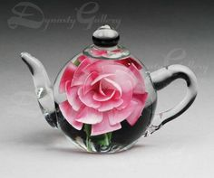 TEAPOT PAPERWEIGHT with PINK ROSE - GIFT ITEMS - Los Elephants, Etc.