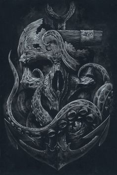 THE LOCKER - Custom Print, Octopus, Skull, Anchor, Black and White Art…