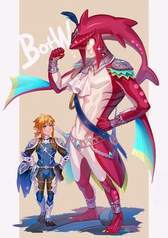 abs blonde hair blue eyes bodysuit clenched hand earrings feet fins fishman full body hair ornament hand on hip highres iroha jewelry link looking at another monster boy multicolored multicolored skin multiple boys muscle neckerchief point The Legend Of Zelda, Legend Of Zelda Memes, Legend Of Zelda Breath, Resident Evil, Sidon Zelda, Prince Sidon, Monster Boy, Video Game Characters, Fictional Characters