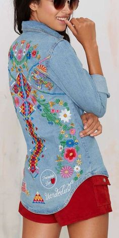 Denim shirt with embroidered detailing