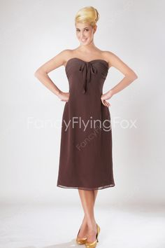 Chocolate Chiffon Sweetheart Neckline A-line Tea Length Junior Bridesmaid Dresses