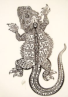 "rockymamotyuk: ""Bearded Dragon Tattoo Design~ Drawn by Rocky Mamotyuk For a friend of mine, she has two of these lil lizards, my fellow Soviet's Mila and Vlad """