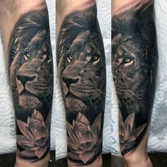 Flower With Lion Guys Realistic Forearm Tattoo Sleeve