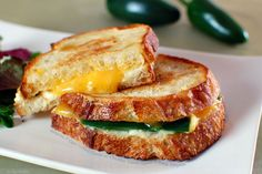 Chedder, Cream Cheese and Jalapeno grilled cheese sandwich.
