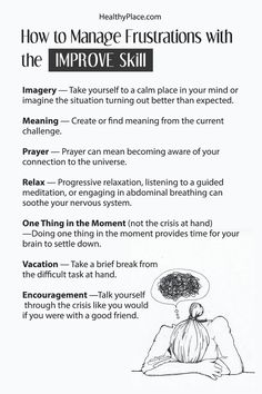You can manage frustrations with confidence by using this DBT skill to help you feel in control. DBT's IMPROVE skill helps turn your mind around. Therapy Worksheets, Therapy Activities, Homeschool Worksheets, Money Worksheets, Budgeting Worksheets, Phonics Worksheets, Alphabet Worksheets, Coping Skills, Social Skills