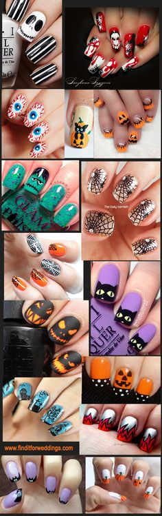Stylish Halloween nails www.finditforweddings.com Nail Art