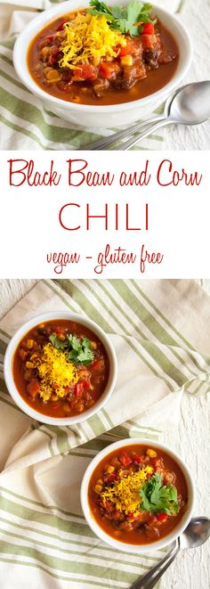 Personalized Graduation Gifts - Ideas To Pick Low Cost Graduation Offers Black Bean And Corn Chili Vegan, Gluten Free - This Healthy Vegan Chili Is A Hearty Meal. Made With Butternut Squash Puree And Fire Roasted Tomatoes. Healthy Eating Recipes, Easy Healthy Recipes, Real Food Recipes, Vegetarian Recipes, Vegan Soups, Lunch Recipes, Vegan Food, Healthy Life, Healthy Food