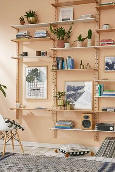 Organizing can be fun! Whether you're searching for creative storage solutions out of necessity or decorative desire, this post can help you find unique pieces Vintage Modern, Unique Wall Shelves, Wall Shelving Units, Shelving Systems, Shelving Ideas, Wall Storage Shelves, Shelf System, Modular Shelving, Modern Shelving