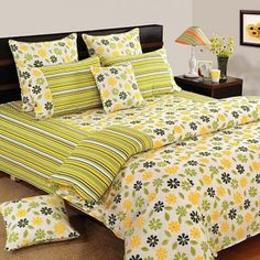 Yellow Green Floral Fitted Bed Sheet, Shades of Paradise-5203