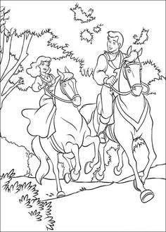 Cinderella And Prince Charming Horse Riding Coloring Page
