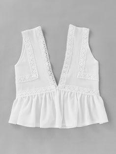Plunging V-Neckline Lace Trim Frill Hem Top 2018 White Contrast Lace Ruffle Hem Women Top Deep V Neck Crop Vest Lace Peplum, Lace Ruffle, Peplum Blouse, Ruffle Trim, Cute Fashion, Fashion Outfits, Costume, Crop Tops, Romwe