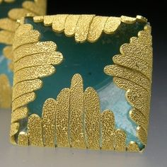 Jacqueline Ryan: Square Earrings with fronds 2004. 18ct gold with enamel.