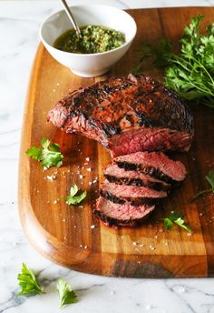 Grilled Tri-Tip with Salsa Verde. Marinated tri-tip is grilled until charred on the outside and tender on the inside and then served with an Italian salsa verde. Grilling Recipes, Paleo Recipes, Dinner Recipes, Cooking Recipes, Healthy Grilling, Simple Recipes, Delicious Recipes, Tasty, Tri Tip