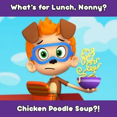What's for lunch? It's chicken poodle soup! Photo Timeline, Bubble Guppies Birthday, Whats For Lunch, Jokes Quotes, School Lunch, Cartoon Kids, Poodle, Cool Kids, Bubbles