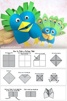 Learn how to make a fortune teller and even transform your cootie catchers into silly little puppets like this cool peacock puppet. Perfect origami project for kids to make.