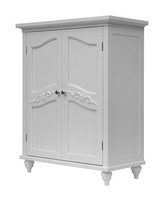 Elegant Home Fashions Versailles Double Door Floor Cabinet (White) Storage Cabinets, Kitchen Storage, Locker Storage, Mirror Jewellery Cabinet, Free Standing Cabinets, Dorm Room Bedding, Folding Beds, Storage Design, Elegant Homes