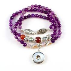 Beaded Purple Snap Bracelet/Necklace