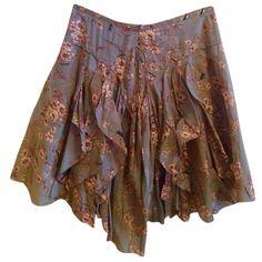 Pre-owned Isabel Marant Knee Prairie Boho Bohemian A-line Skirt ($162) ❤ liked on Polyvore featuring skirts, bottoms, blue, gathered skirt, sexy skirt, flower skirt, boho skirts and panel skirt