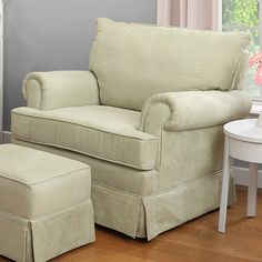 Features:  -Material: Manufactured wood frame and ottoman, metal, microfiber and foam upholstery .  -Glider chair and stationary ottoman.  -Weight limit for both chair and ottoman is 250 lbs.  -Storag