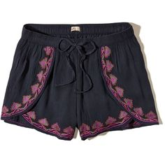 Hollister Embroidered Petal Shorts (17 CAD) ❤ liked on Polyvore featuring shorts, bottoms, navy, navy blue shorts, colorful shorts, hollister co. shorts, embroidered shorts and lightweight shorts