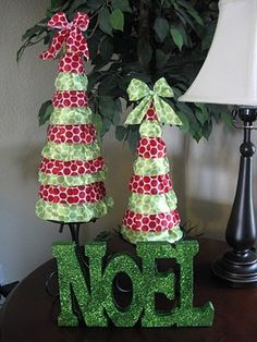 Easy Christmas trees - use better ribbon or vintage lace ruffles.