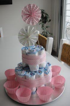 Torta de pañales Baby shower Greta