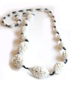 White silicone and black silk thread necklace by Tzuri Gueta. Gallery Lulo.