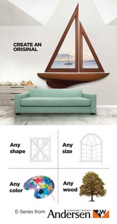 Create a one-of-a-kind window or patio door  -- in virtually any shape, size, color or wood species -- at andersenwindows.com/e-series.