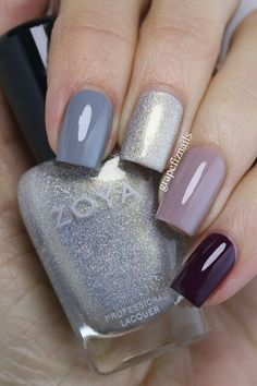 A Zoya nail polish cone mani! I have used (from the pointer to the little finger) August, Ali Fancy Nails, Love Nails, Diy Nails, Stylish Nails, Trendy Nails, August Nails, Zoya Nail Polish, Creative Nails, Winter Nails