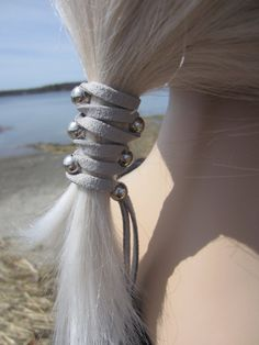 Leather Hair Ties Wraps Ponytail holders Silver by Vacationhouse