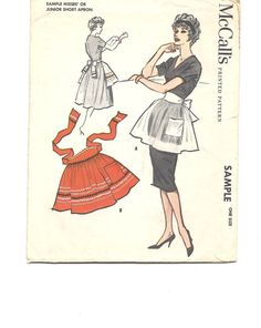 1950s APRON Sewing Pattern  Hostess Apron  by CottageontheBluff