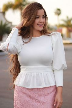 Our Annie peplum. The sleeves though! Camilla pink lace skirt available too! Curvy Outfits, Modest Outfits, Skirt Outfits, Modest Dresses, Stylish Dress Designs, Stylish Dresses, Casual Dresses, Fashion Dresses, Curvy Fashion