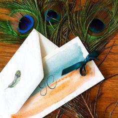 Partecipazioni con acquerello bicolore arancione e ottanio con nastro in raso!
